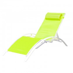BAIN DE SOLEIL INCLINABLE AVEC COUSSIN RELAX GREEN+WHITE PULLMAN