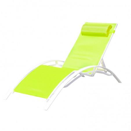 BAIN DE SOLEIL INCLINABLE AVEC COUSSIN RELAX GREEN+WHITE PULLMAN