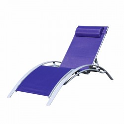 BAIN DE SOLEIL INCLINABLE AVEC COUSSIN RELAX NAVY BLUE+SILVER PULLMAN