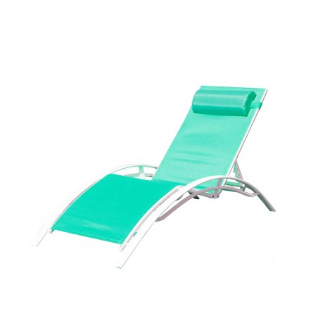 BAIN DE SOLEIL INCLINABLE AVEC COUSSIN RELAX TURQUOISE+WHITE PULLMAN