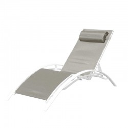 BAIN DE SOLEIL INCLINABLE AVEC COUSSIN RELAX TAUPE+WHITE PULLMAN