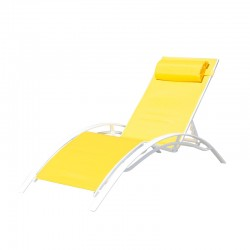 BAIN DE SOLEIL INCLINABLE AVEC COUSSIN RELAX YELLOW+WHITE PULLMAN